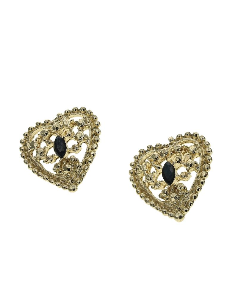 Goldtone Heart Shaped Black Rhinestone Marquise Shape Centre Stone Stud Earrings By The Olivia Collection