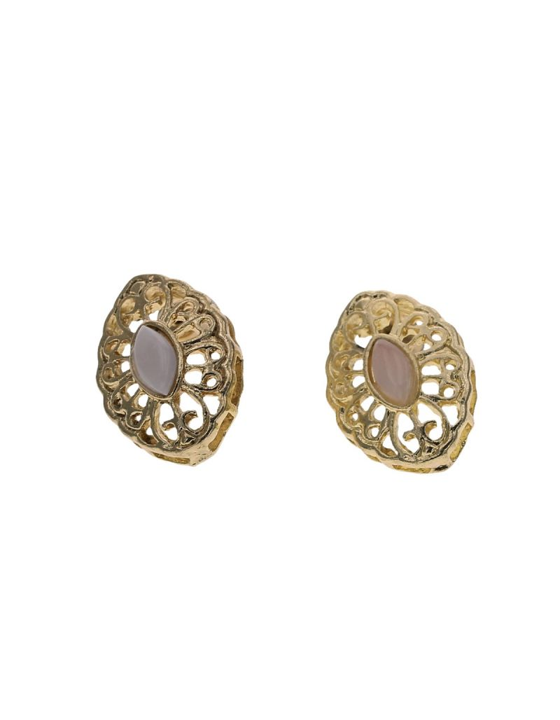 Goldtone Cabochon Shaped Opalescent Glass Centre Stone Stud Earrings By The Olivia Collection