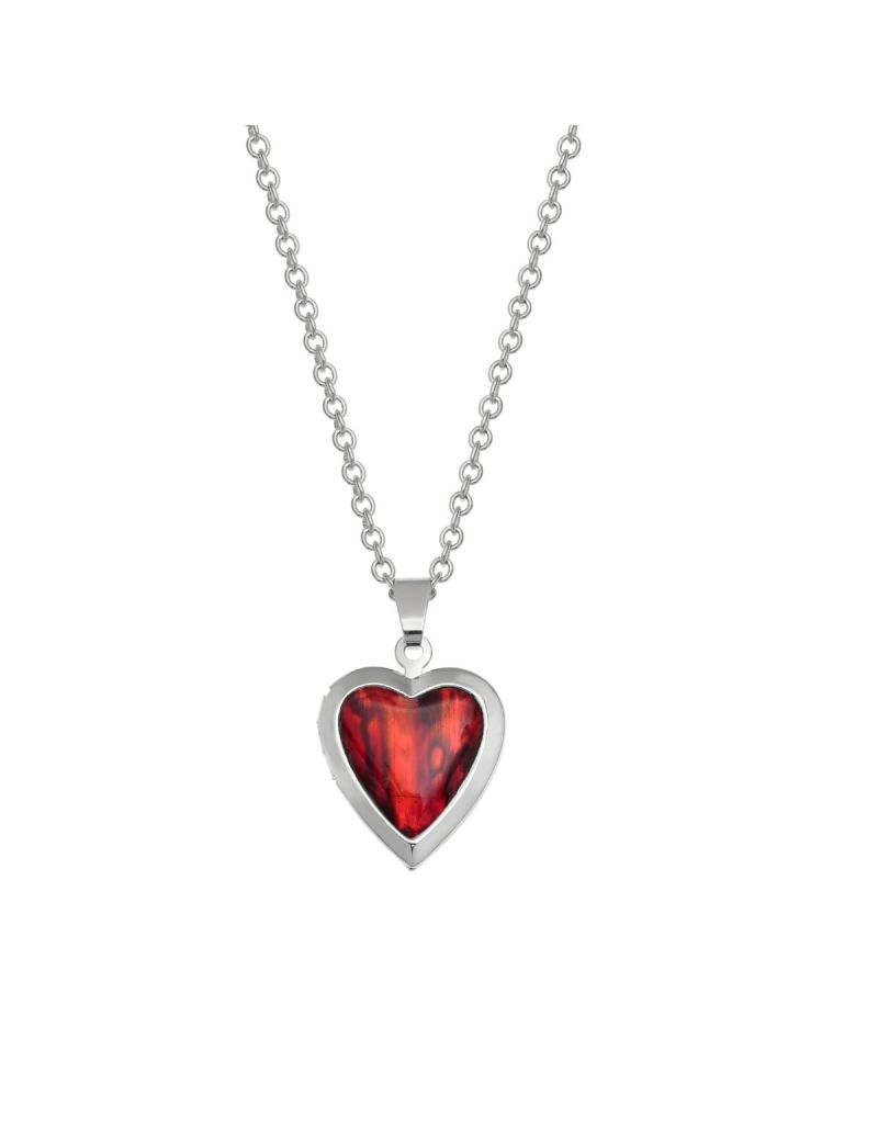 """TOC Red Paua Shell Heart Locket Pendant Necklace Base Metal 18"""" Chain"""