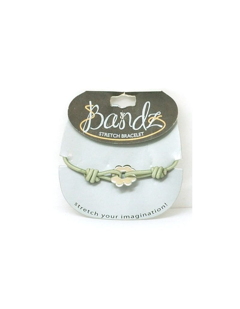 TOC Bandz Green And Silvertone Flower 6 Inch Stretch Bracelet