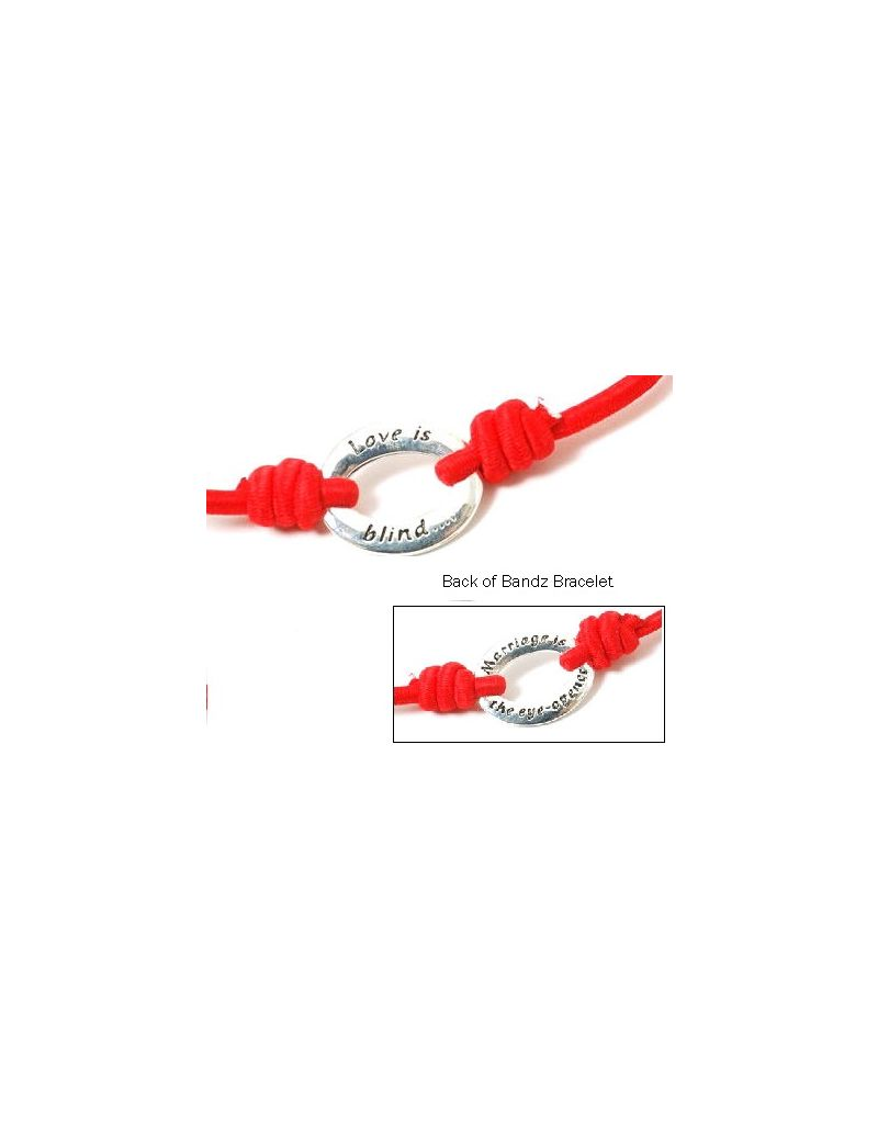 "TOC Bandz ""Love Is Blind..Marriage Is The Eye-Opener 6 Inch Red Love Bracelet"