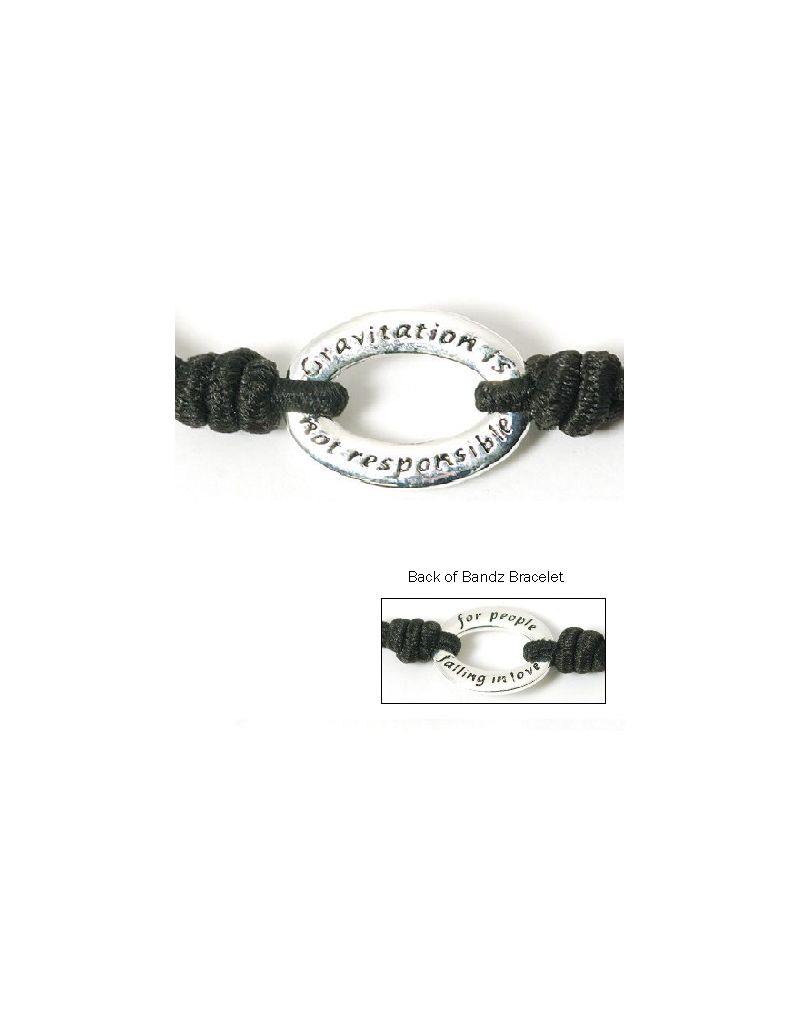 "Toc Bandz ""Gravitation Isn't Responsible ....Falling In Love"" Black 6"" Bracelet"