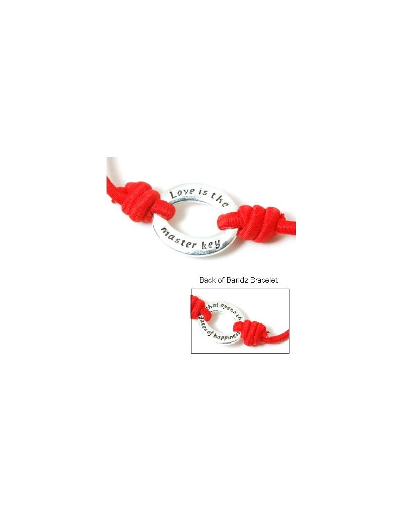 "Toc Bandz ""Love Is A Master Key..Opens Gates of Happiness"" Red Stretch Bracelet"
