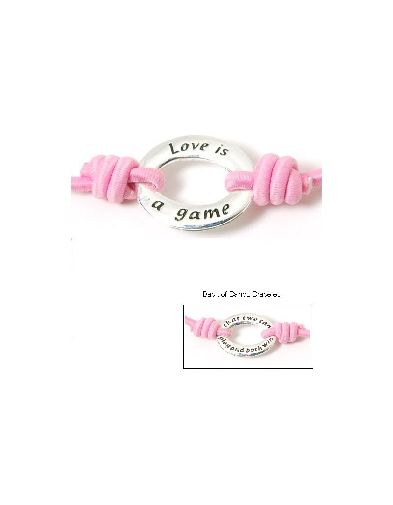 "Toc Bandz ""Love Is A Game 2 Can Play... And Both Win"" 6 Inch Pink Love Bracelet"