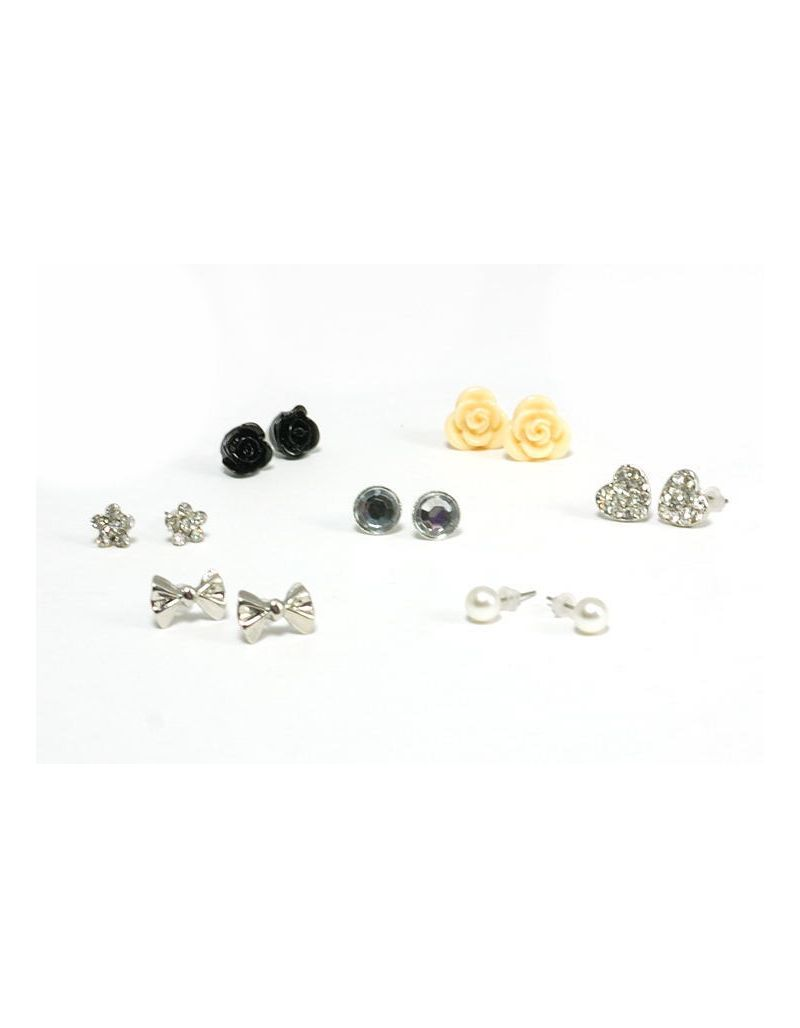 5 Sets of 7 The Olivia Collectoin Set of Seven Assorted Stud Earrings