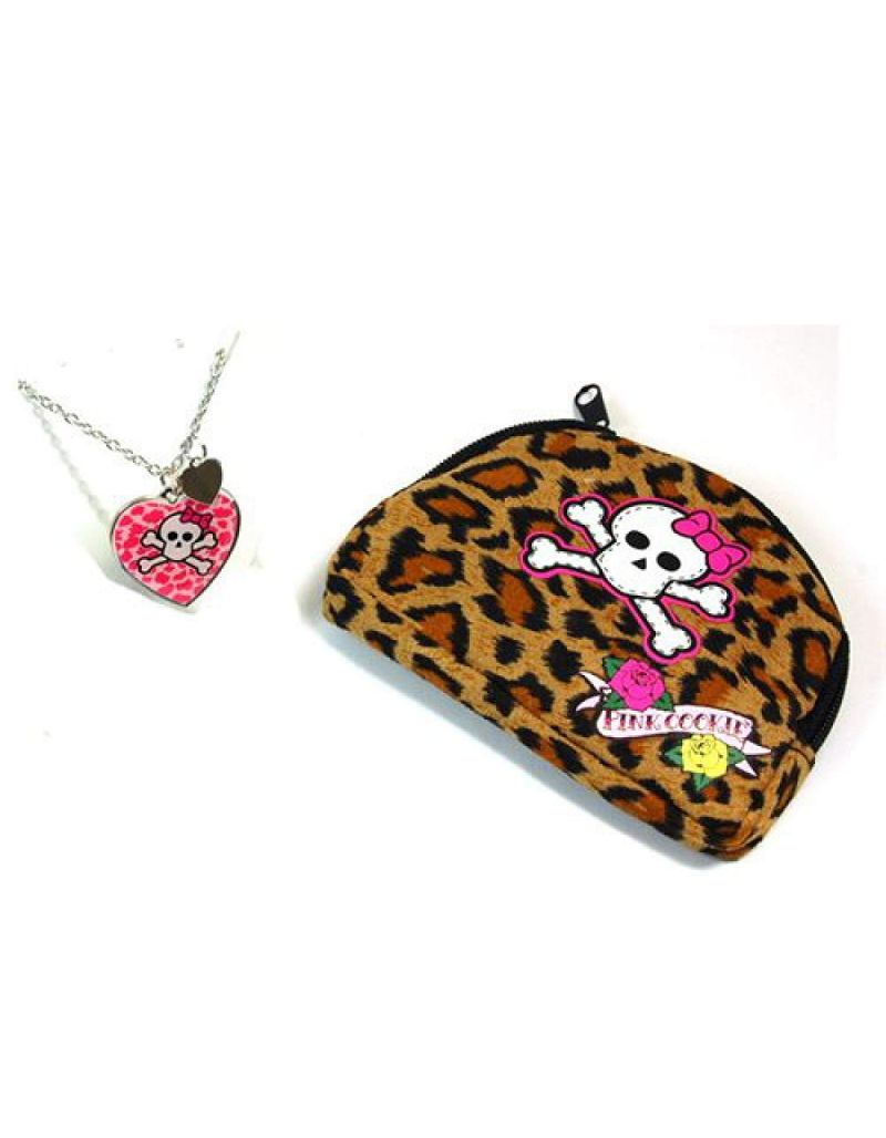 "Pink Cookie Girls Silvertone & Pink Heart Skull Pendant on 18"" Chain + Purse"