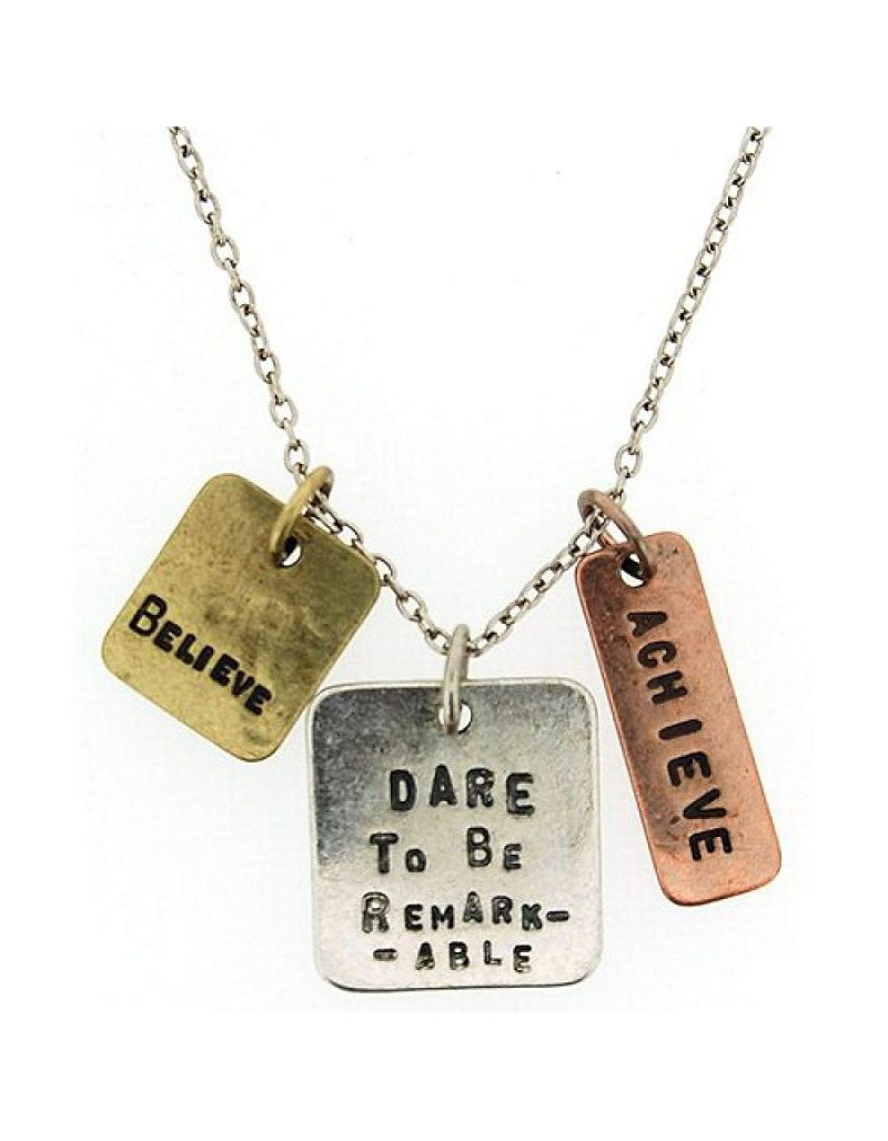 """Dare To Be Remarkable.."" Triple Charm Tag Pendant Necklace 16""+3"" Extender"