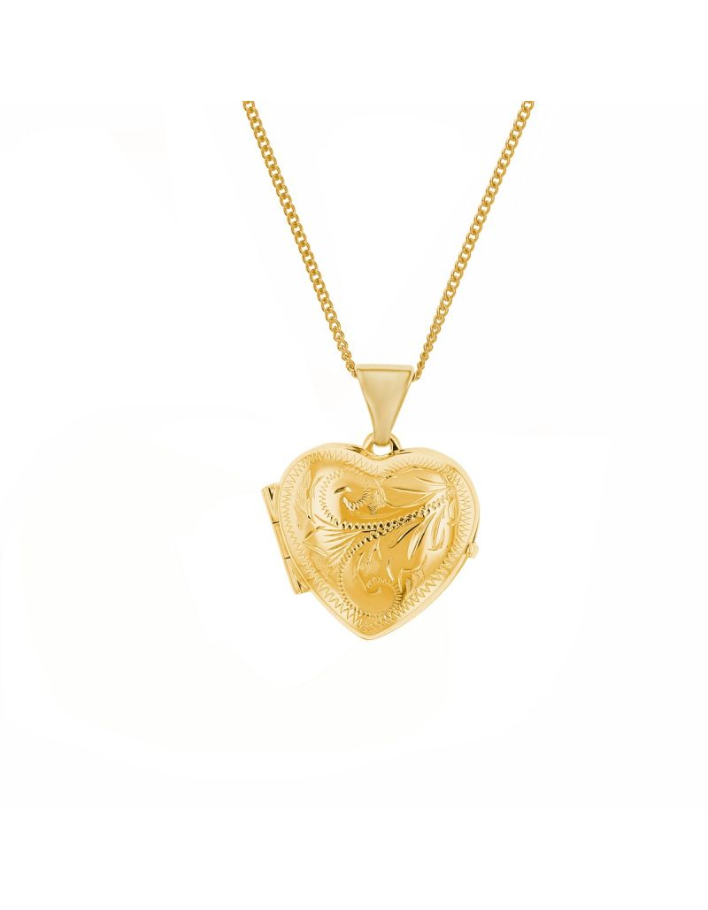 "The Olivia Collection 9 Carat Yellow Gold 15mm Heart Shaped Engraved Locket Pendant on 9ct Yellow Gold 18"" Chain"