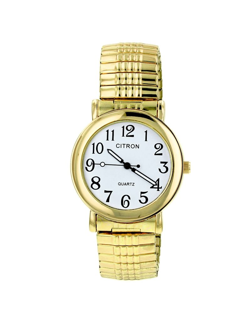 Citron Gents Classic Big Numbers White Dial Goldtone Expander Strap Watch GAQEXP01