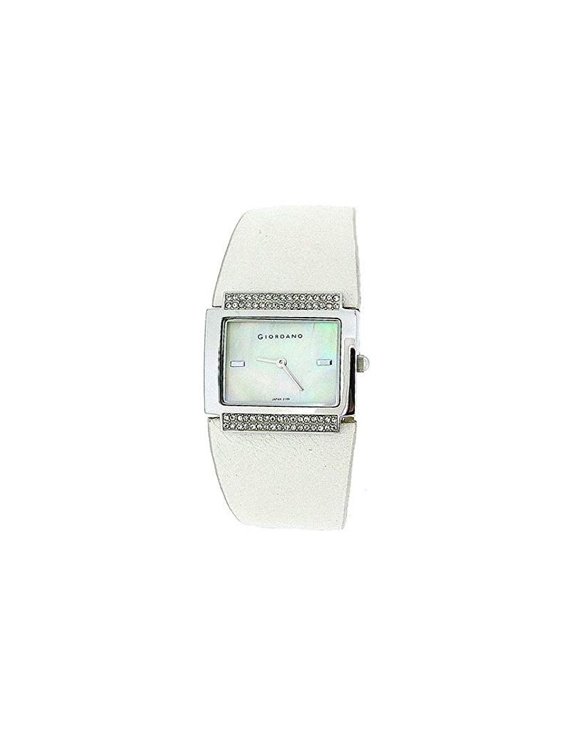 Giordano Ladies Mother Of Pearl Dial Stone Set Bezel White PU Strap Watch 2199