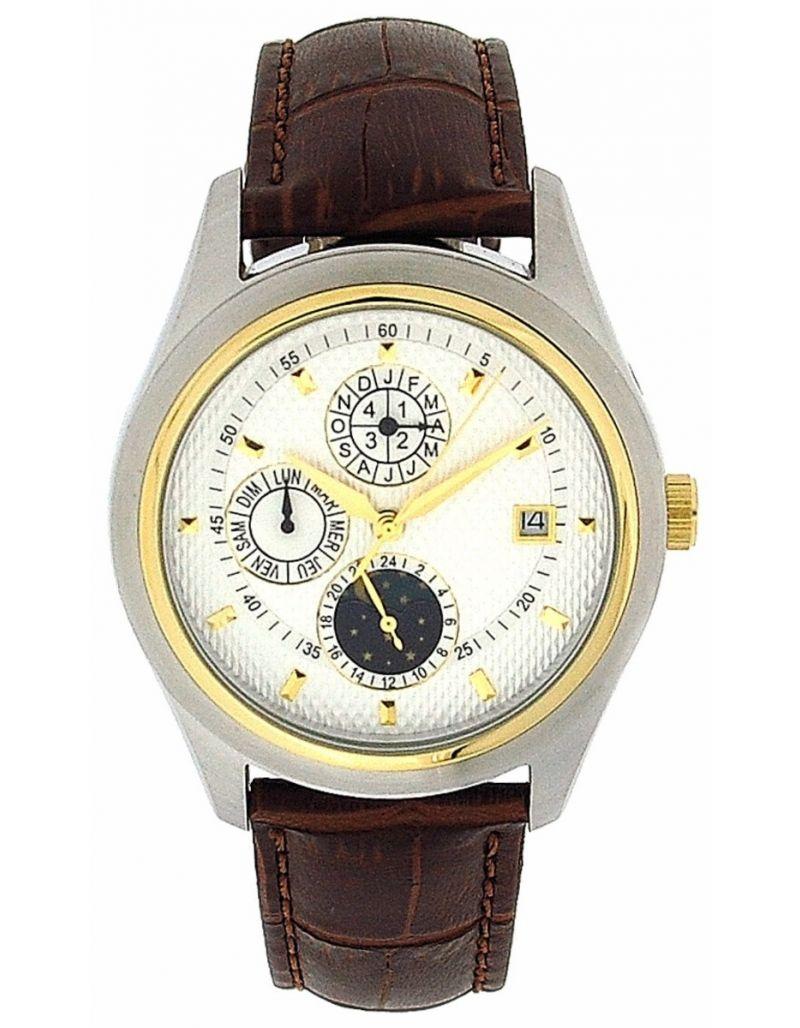 Jakob Strauss Gents Chronograph Automatic Day Date Moon Leather Strap Watch