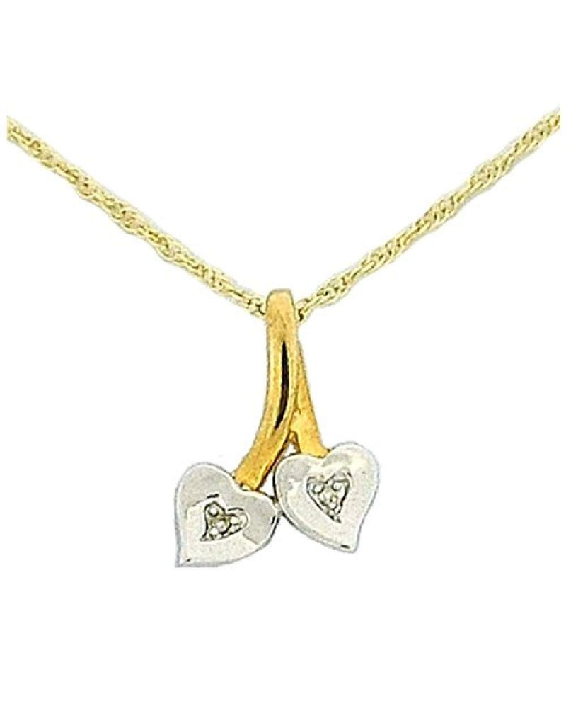 Toc 9ct Gold 2 Tone Heart Pendant with Diamonds on 18 Inch Chain