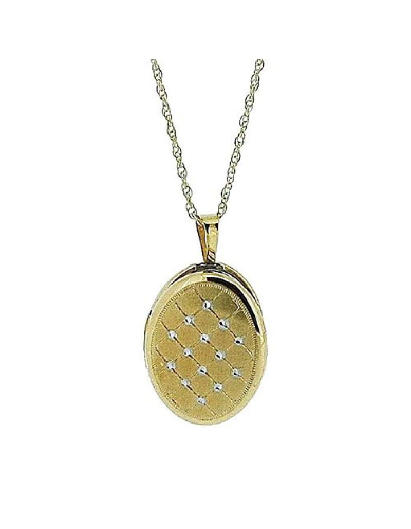 """Toc 9 Carat Yellow Gold 16mm Quilted Oval Locket Pendant on 18"""" Chain"""