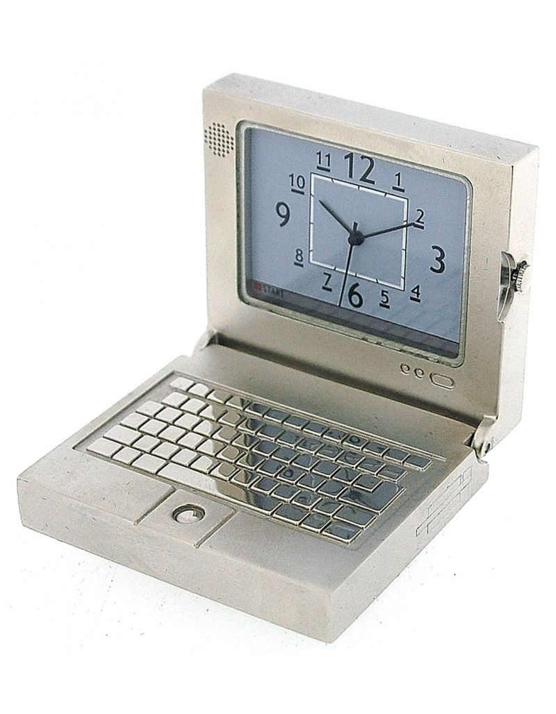 GTP Miniature Novelty Silvertone Metal Laptop PC Desktop Collectors Clock IMP1001S