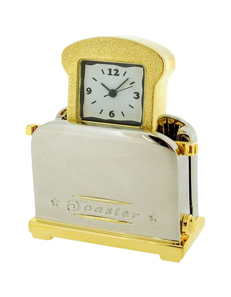 GTP Unisex Novelty Collectors Gold Alloy Pop-Up Bread Toaster Clock  IMP1006