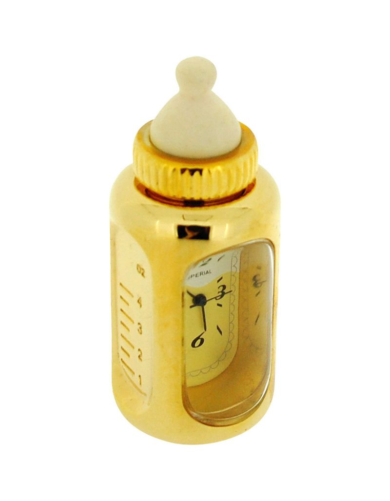 GTP Unisex Miniature Gold Plated Metal Baby's Bottle Novelty Collectors Clock IMP1009
