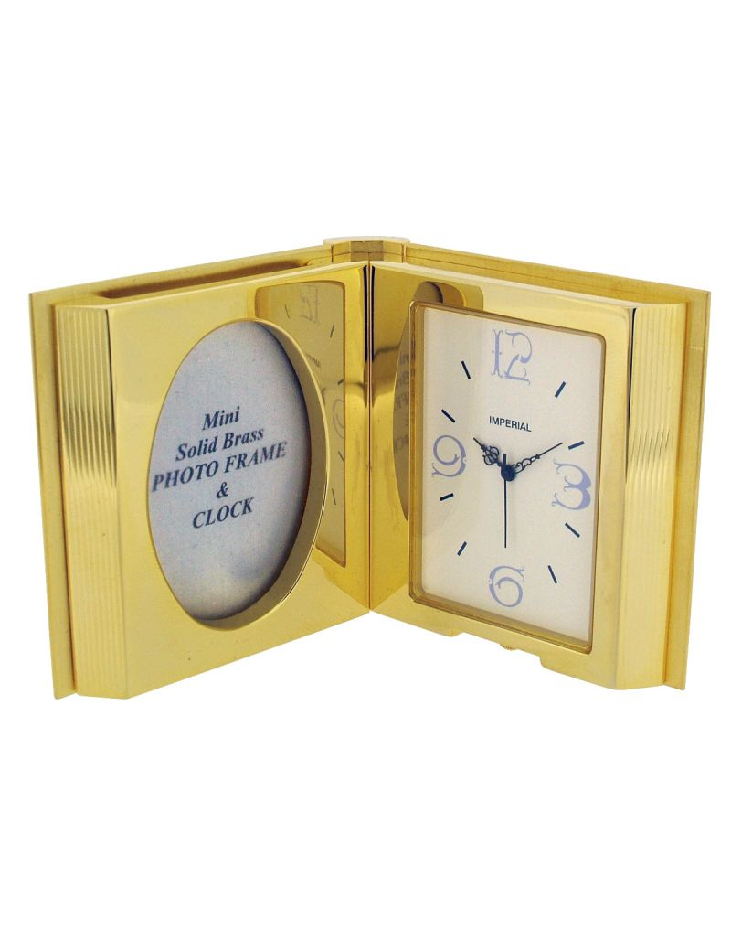 GTP Miniature Unisex Open Book Mini Photo Frame Gold Plated On Solid Brass Novelty Collectors Mantle Piece Shelf Clock IMP100-B-G