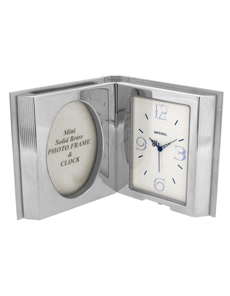 GTP Miniature Unisex Open Book Mini Photo Frame Chrome Plated On Solid Brass Novelty Collectors Mantle Piece Shelf Clock IMP100-B-S