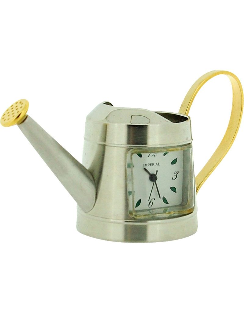 GTP Unisex Miniature Chrome/Goldtone Watering Can Novelty Collectors Clock IMP1010