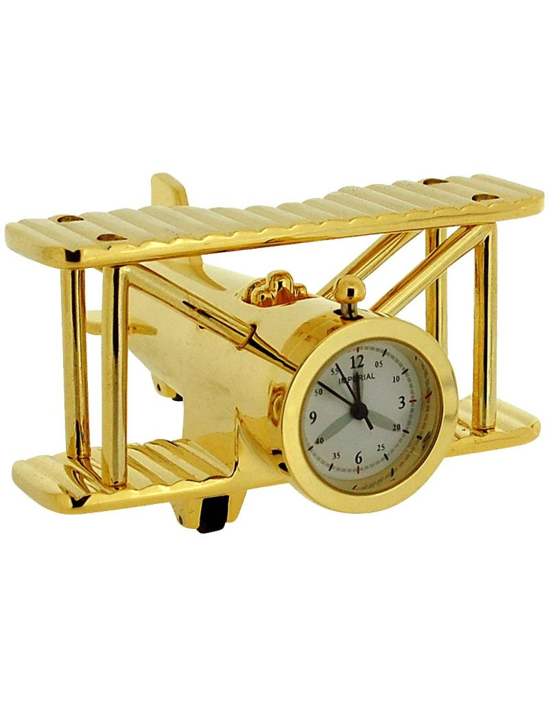 GTP Unisex Miniature Goldtone Metal Bi-Plane Design Novelty Collectors Clock IMP1014
