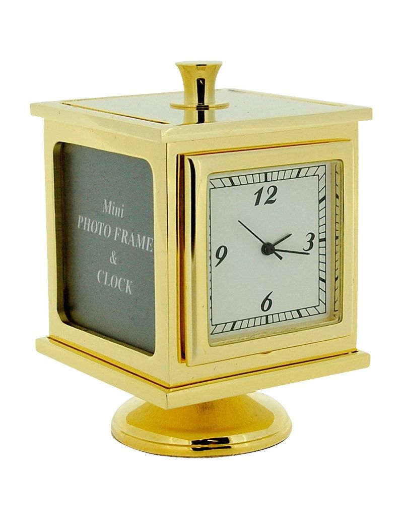 GTP Miniature 3 Side Photo Cube Goldtone Alloy Novelty Collectors Gift Clock IMP1019G