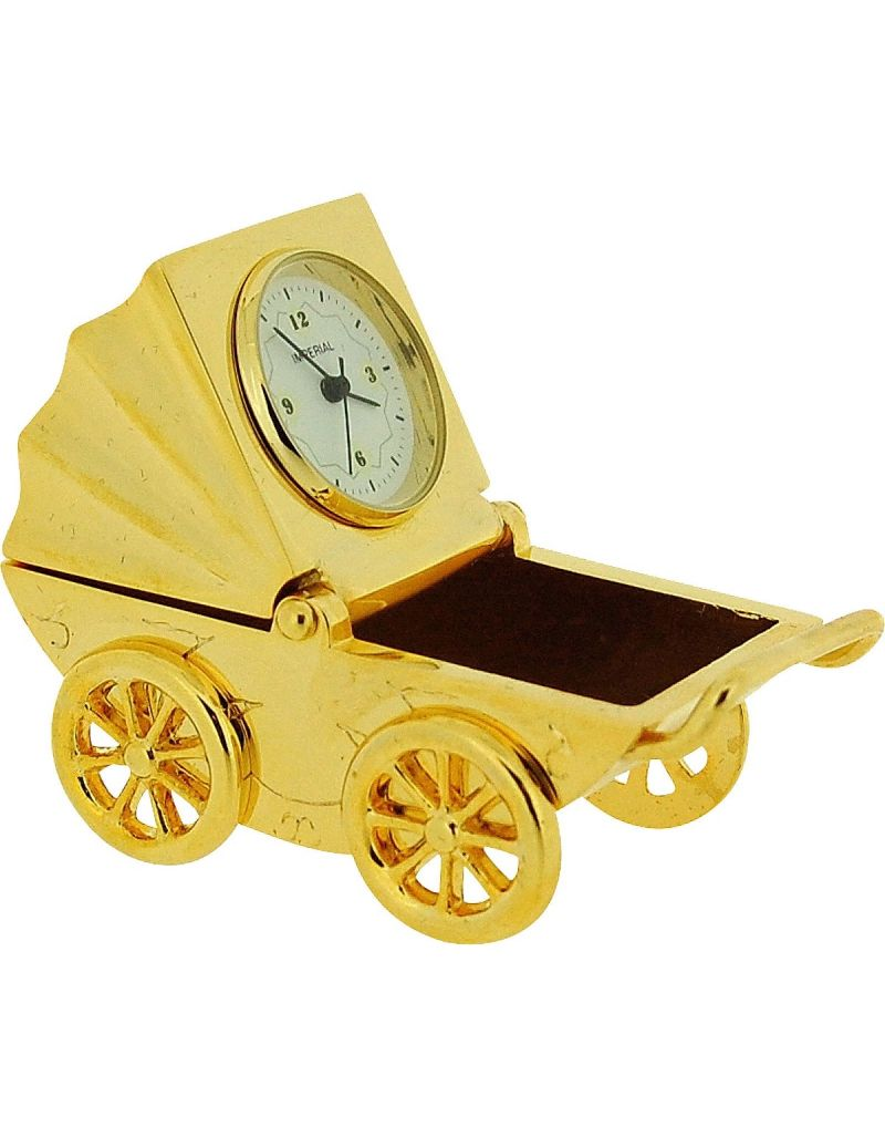 GTP Unisex Miniature Goldtone Baby Pram & Picture Frame Novelty Collectors Clock IMP1020