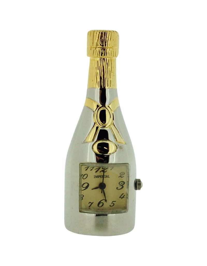 GTP Unisex Miniature Chrome & Goldtone Champagne Bottle Novelty Collectors Clock IMP1031