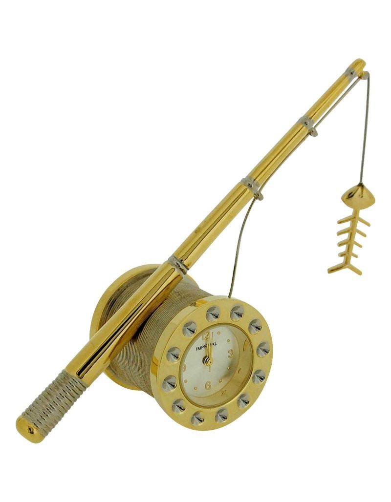 GTP Unisex Miniature GoldTone Fishing Rod Novelty Analogue Collectors Clock IMP1039G