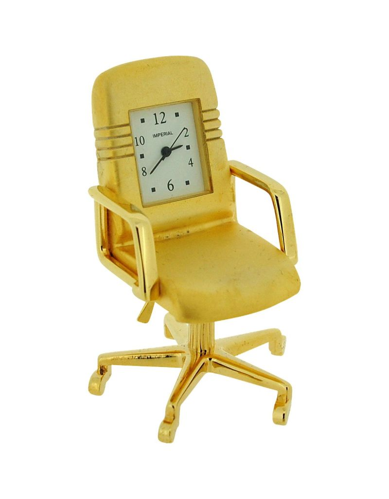 GTP Unisex Miniature Goldtone  Metal Office Swivel Chair Novelty Collectors Clock IMP1047