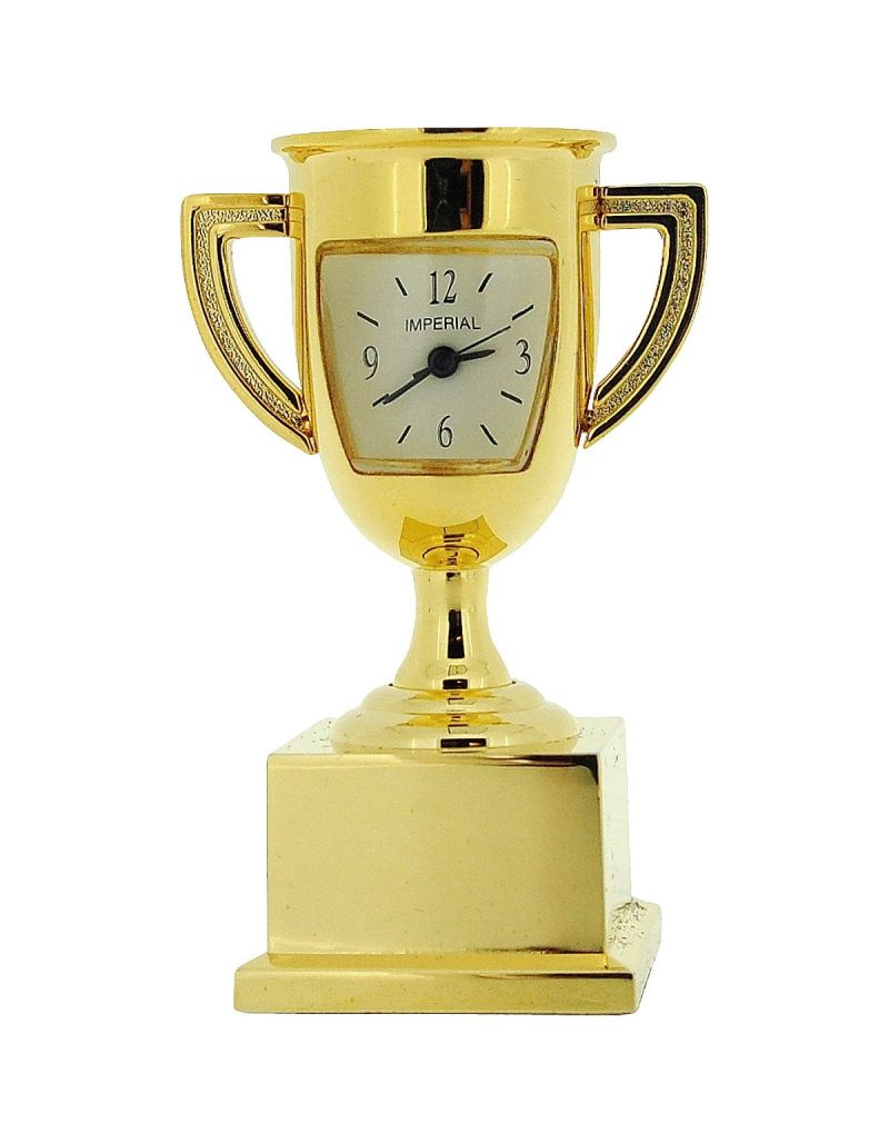 GTP Unisex Miniature Goldtone Metal Trophy Winners Cup Novelty Collectors Clock IMP1049