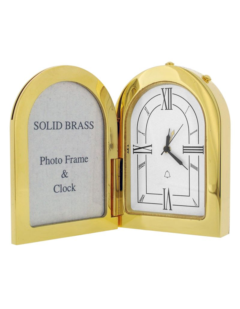 GTP Miniature Unisex Arch Photo Frame Goldplated On Solid Brass Novelty Collectors Mantle Piece Shelf Alarm Clock IMP1051B-G