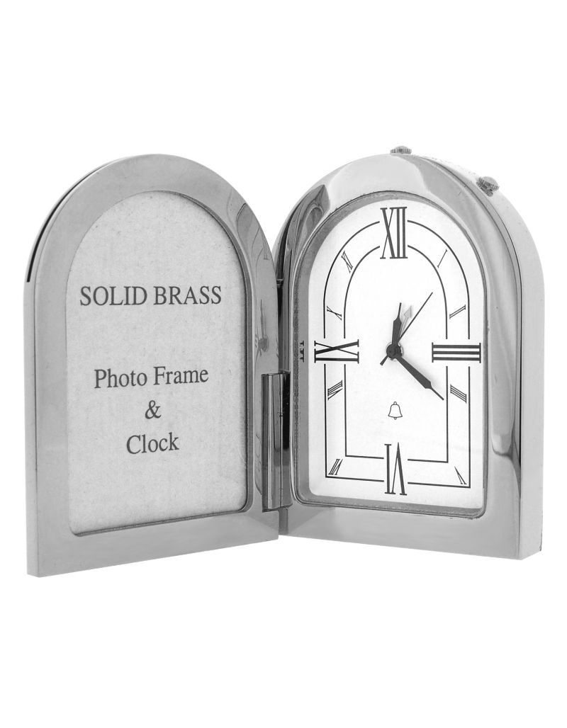 GTP Miniature Unisex Arch Photo Frame Chrome Plated on Solid Brass Novelty Collectors Mantle Piece Shelf Alarm Clock IMP1051B-S