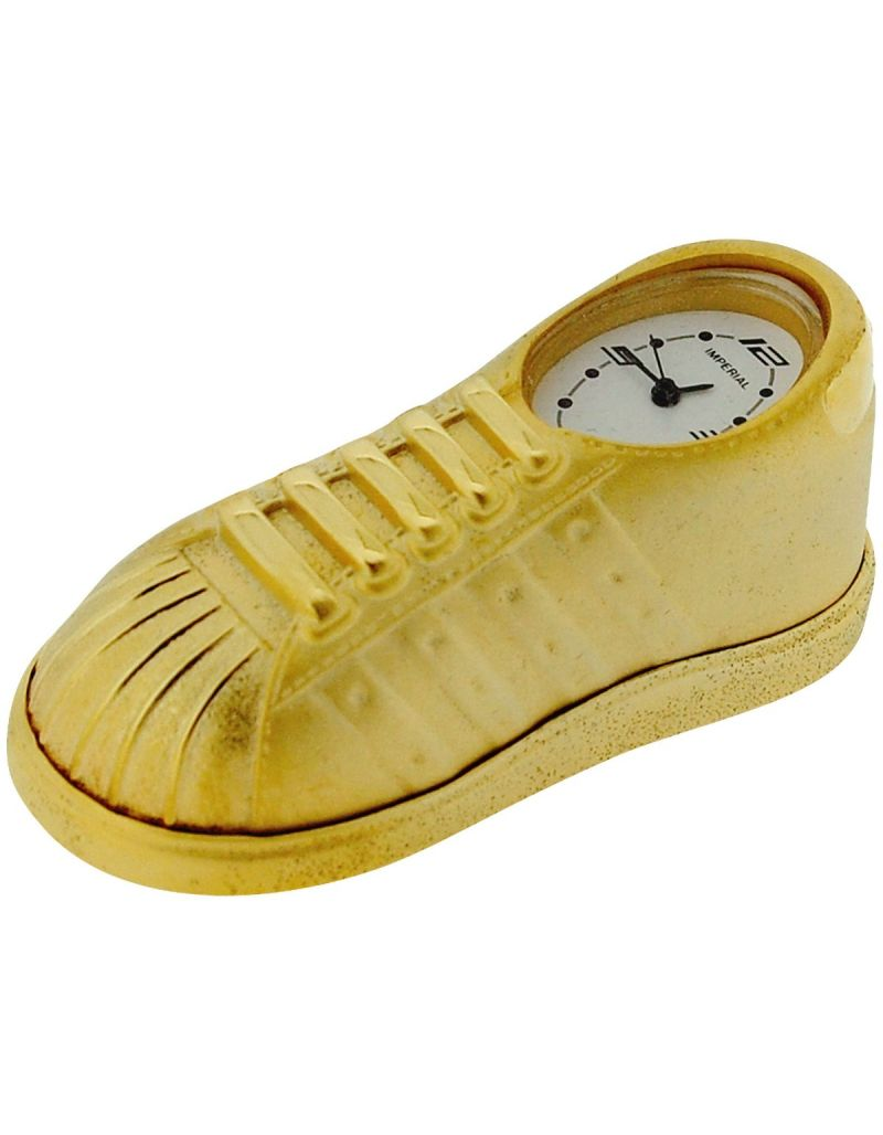 GTP Miniature Sneaker/Trainer Novelty Goldtone Metal Collectors Clock IMP1060