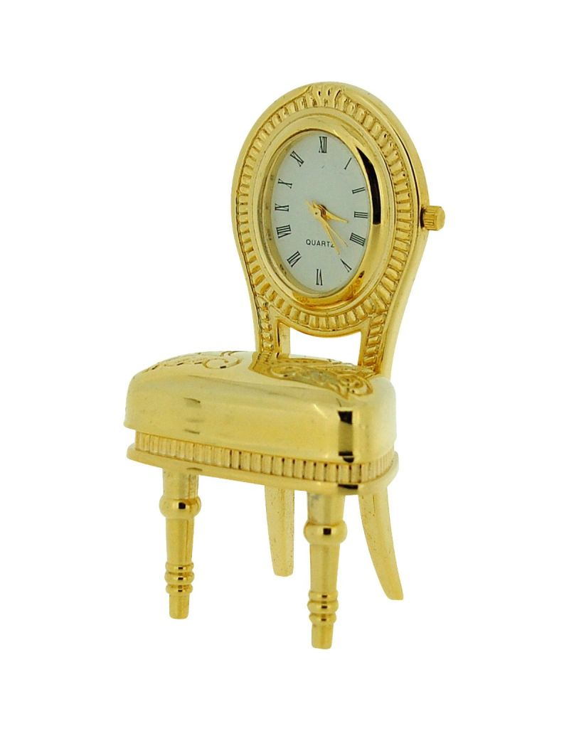 GTP Unisex Miniature Gold Plated on Alloy Plush Dining Room Chair Novelty Collectors Clock IMP1063