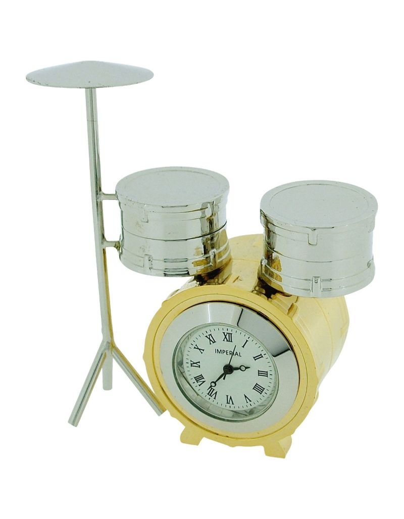 GTP Unisex Miniature Drum Kit Novelty Silver & Goldtone Finish  Collectors Clock IMP1065