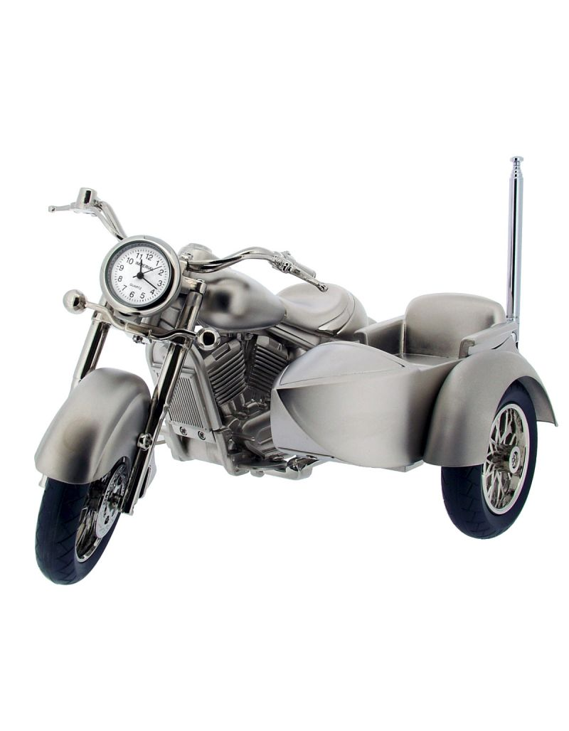 GTP Miniature Novelty Collectors Chrome Plated on Alloy Harley Style With Side-Car Motorbike RADIO Desktop Clock IMP1076AL