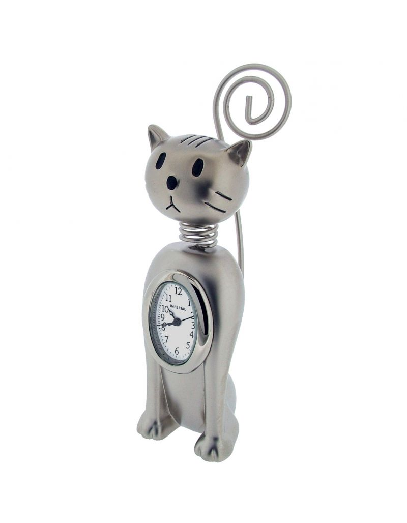 GTP Miniature Unisex Upright Springy Cat Chrome Plated On Alloy Novelty Collectors Mantle Piece Shelf Clock IMP1081S