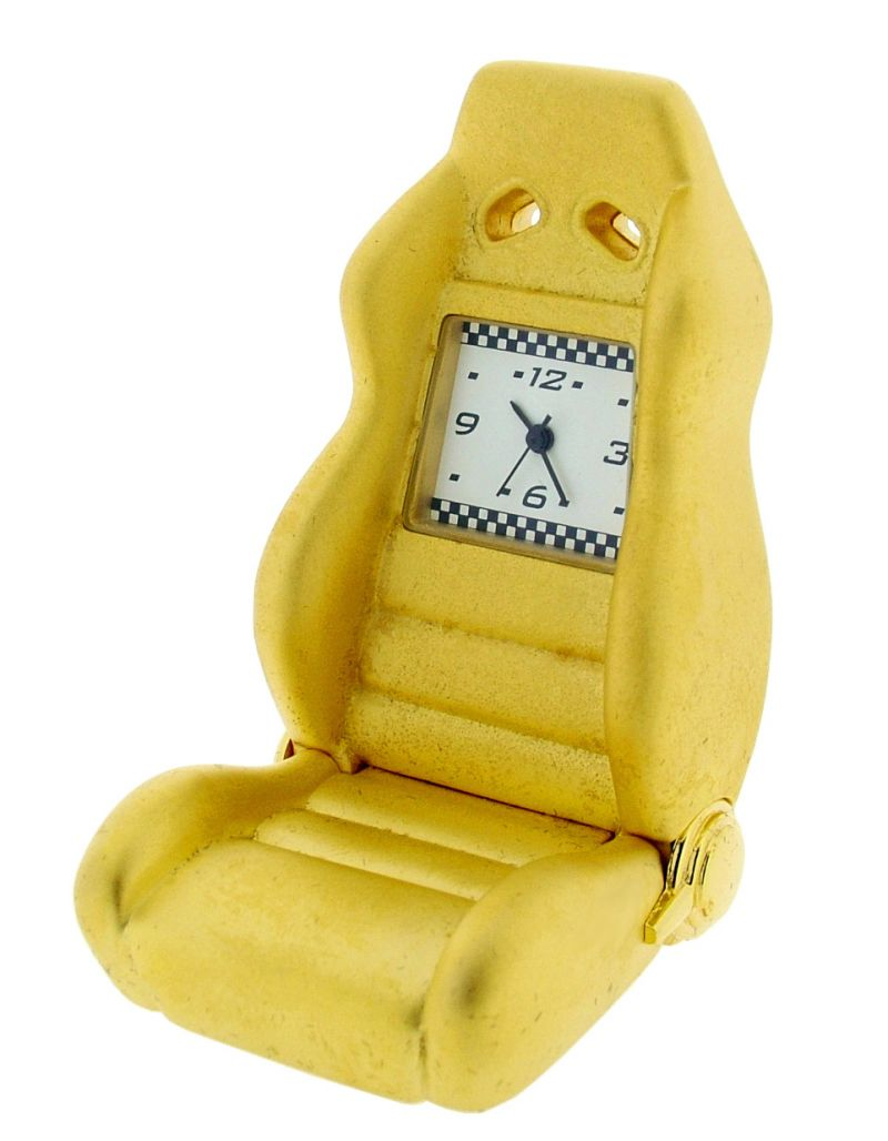 GTP Miniature Unisex Car Racing Seat Gold Plated on Alloy Novelty Collectors Mantle Piece Shelf Clock IMP1096G