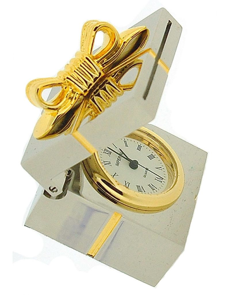 GTP Miniature Gift Box With Bow & Photo Frame Two Tone Brass Novelty Collectors Gift Clock IMP17B-G