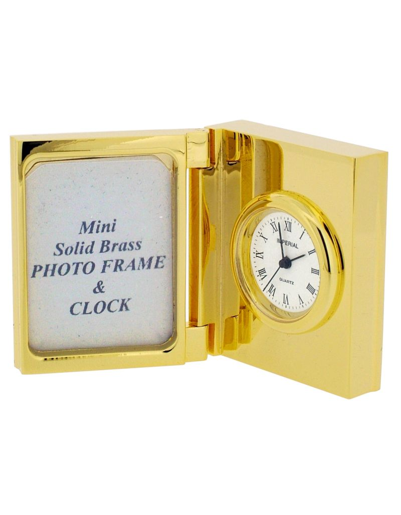 GTP Miniature Unisex Mini Photo Frame Goldplated On Solid Brass Novelty Collectors Mantle Piece Shelf Clock IMP18B-G