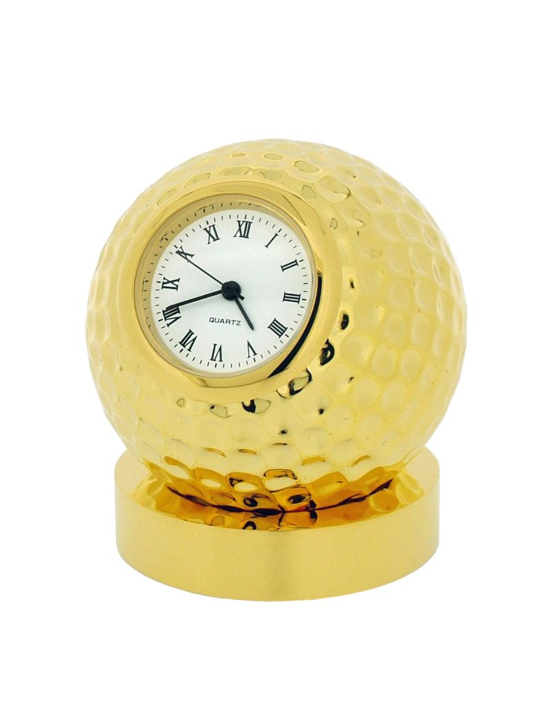 GTP Unisex Miniature Collectors Novelty Golf Ball on Stand Clock Gold Plated on Solid Brass IMP25B-G