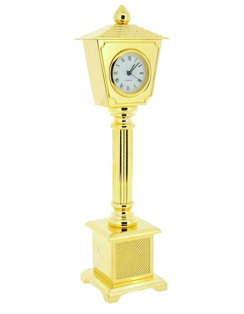 GTP Unisex Miniature Goldtone On Solid Brass Lamp Post Novelty Collectors Clock IMP26