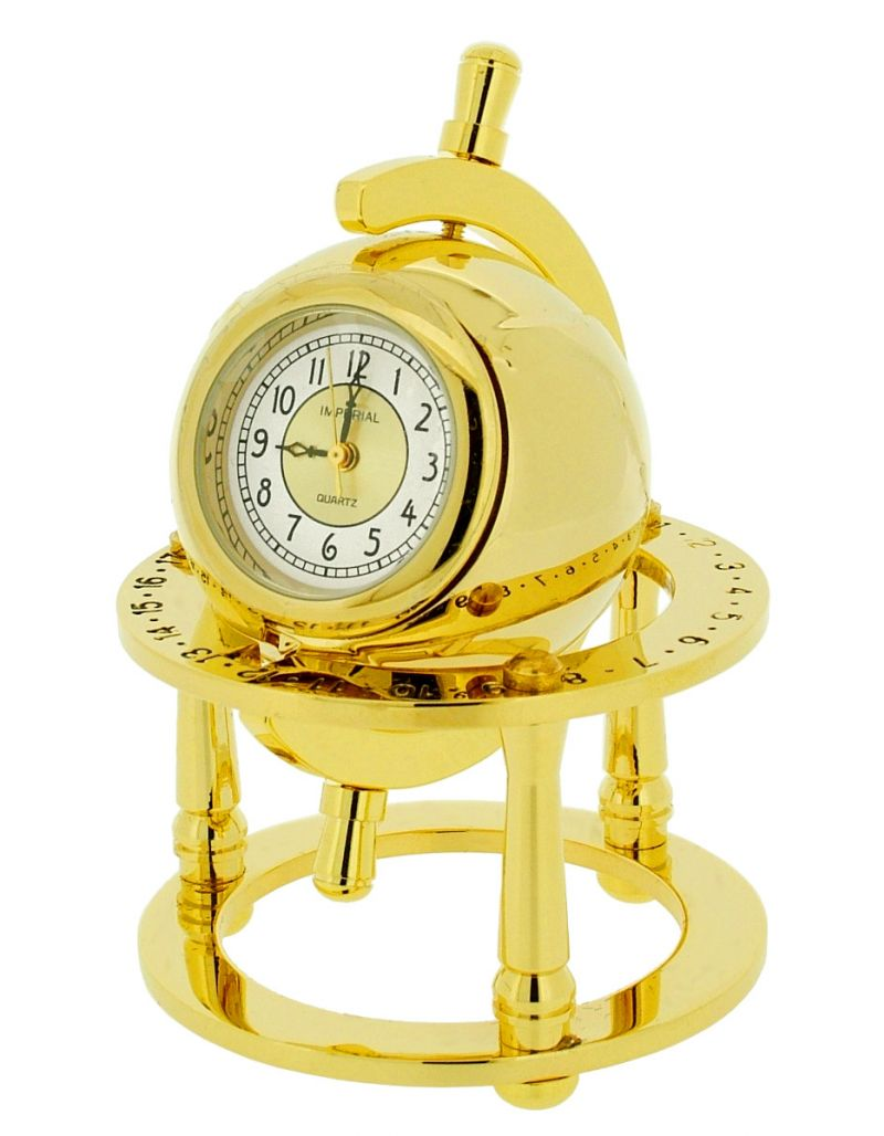 GTP Miniature Unisex Library Globe Gold Plated on Solid Brass Novelty Collectors Mantle Piece Shelf Clock IMP31B-G