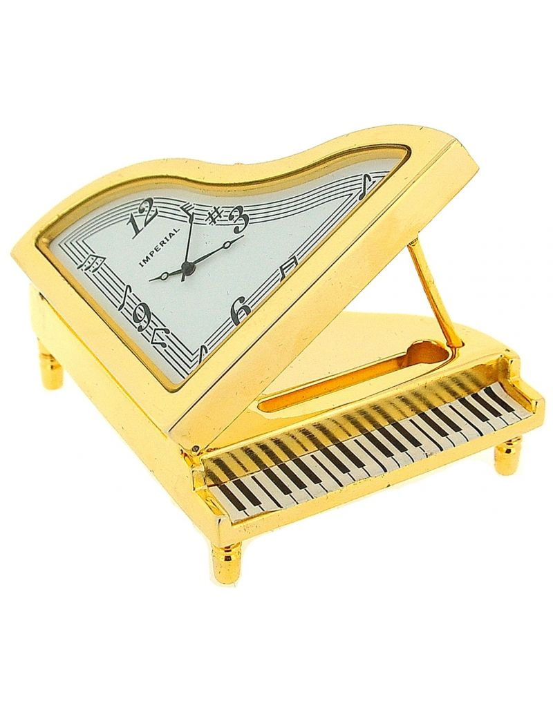 GTP Unisex Miniature Analogue Goldtone Metal Grand Piano Novelty Collectors Clock IMP36