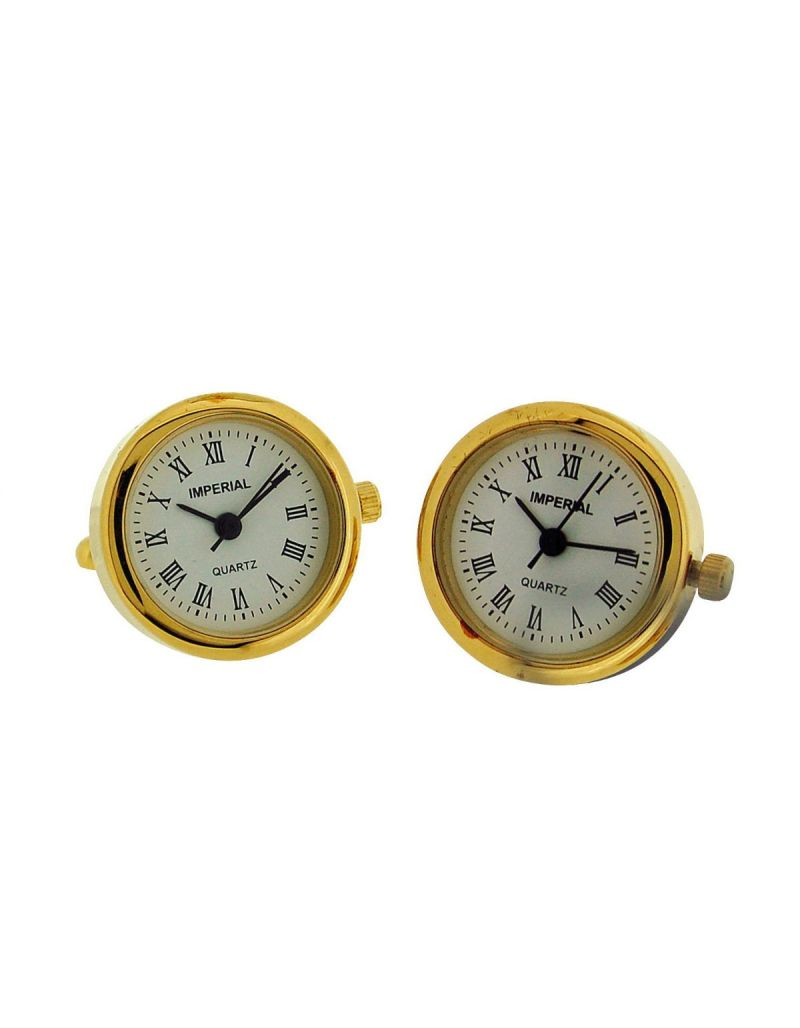 GTP Gents Novelty White Dial Gold Tone Plated on Alloy Watch Cufflinks IMP414G