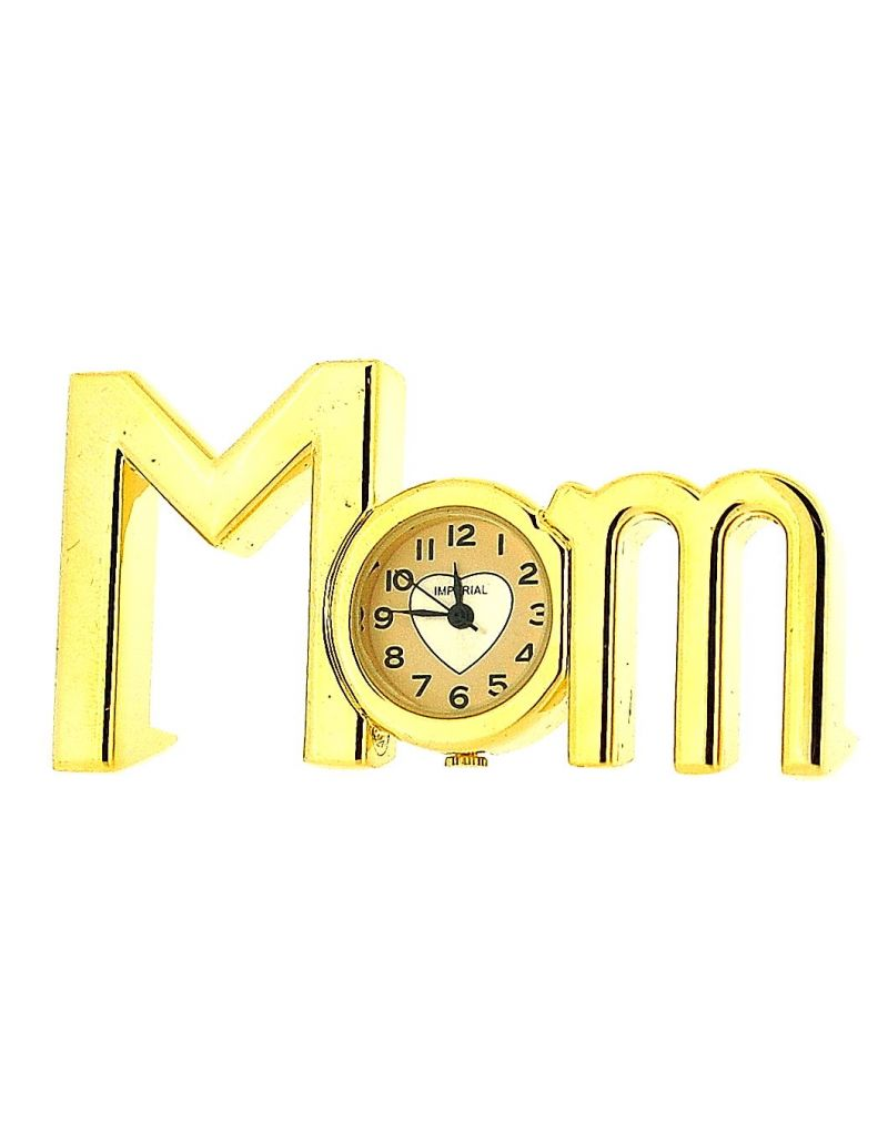 "GTP Unisex Miniature Analogue Goldtone Metal ""MOM"" Novelty Collectors Clock IMP415"
