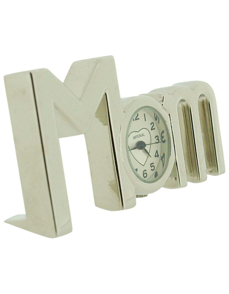 """GTP Unisex Miniature Analogue Silver Plated Metal """"MOM"""" Novelty Collectors Clock IMP415S"""
