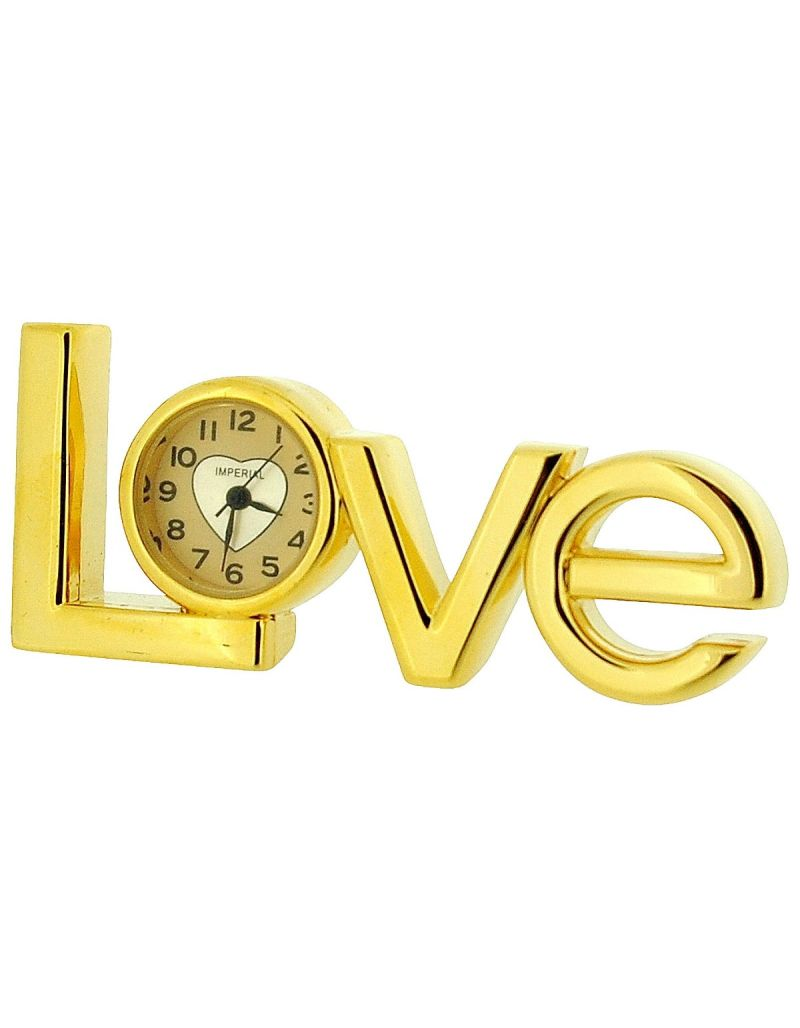 "GTP Unisex Miniature Analogue Gold Plated Metal ""Love"" Novelty Collectors Clock IMP416"