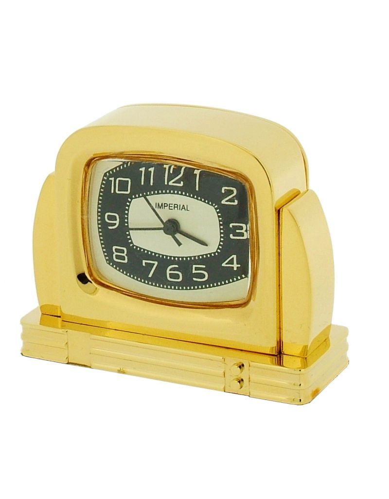 GTP Miniature Unisex Fifties TV Style Gold Plated on Solid Brass Novelty Collectors Mantle Piece Shelf Alarm Clock IMP42B-G