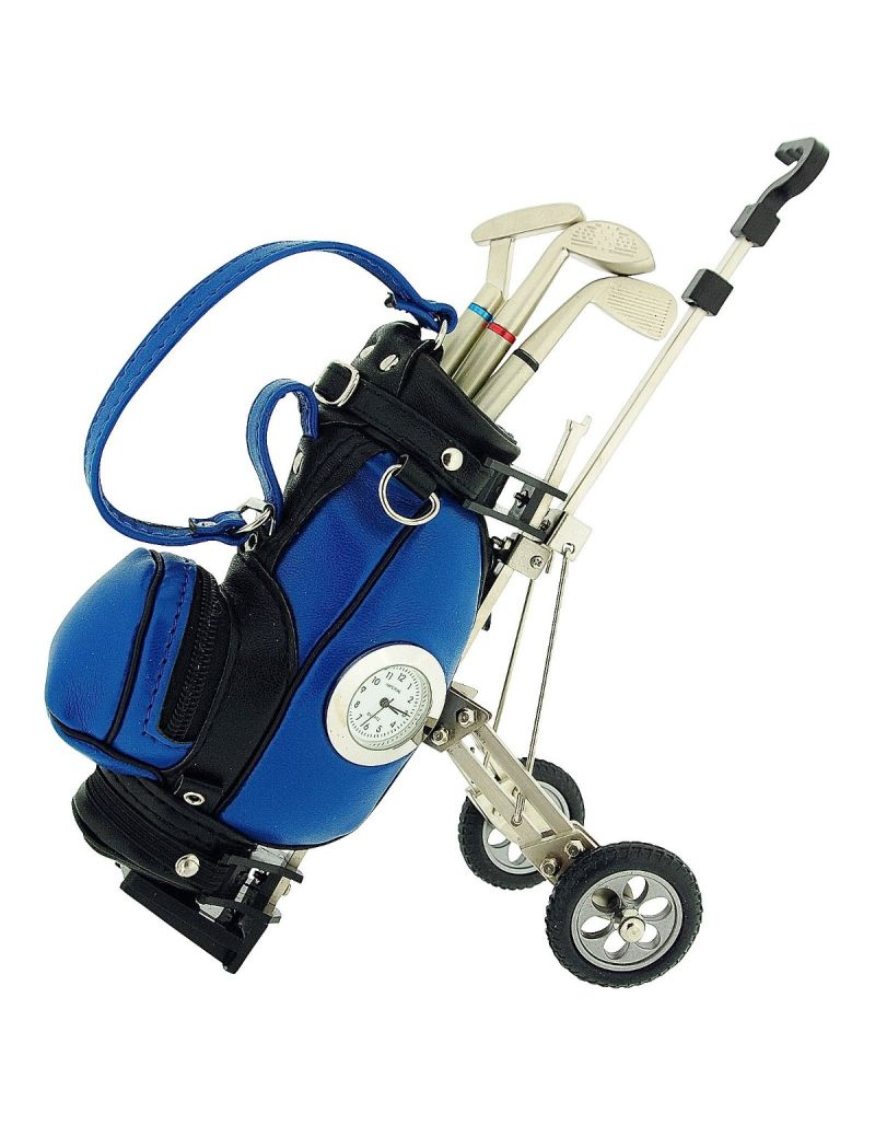 GTP Unisex Miniature Black/Blue Golf Cart & Club Pens On Wheels Collectors Clock Gift Set IMP431BB